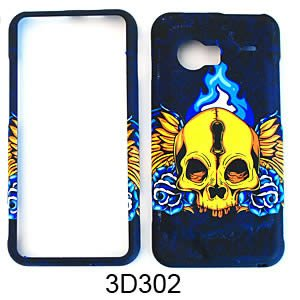 RUBBER COATED HARD CASE FOR HTC DROID INCREDIBLE 6300 TEXTURED SKULL WINGS
