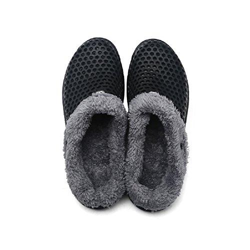 Flip Women QISHENG Flops Slip Warm Men's Winter Clogs Garden On Mules Fur Black Slipper Shoes Slides Lined qPA45wP