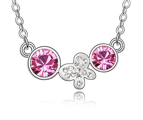 (Fashion Womens Butterfly Pink Crystal Rhinestone Silver Chain Pendant Necklace)