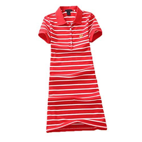 (Teeuiear Women Embroidery Polo Striped Print Summer T Shirt Dress Slim Casual Mini Sport Dresses (L, Q896 Red))