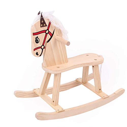 TOYANDONA Kids Children Wooden Chair Rocking Horse Animal Ride Chair Educational Toy (Traditional Wooden Horses Rocking)