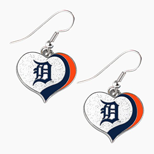 Detroit Tigers MLB Sports Team Logo Glitter Heart Earring Swirl Charm Set