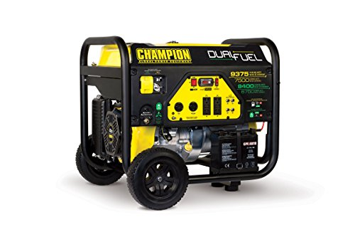 - Champion 7500-Watt Dual Fuel Portable Generator with Electric Start
