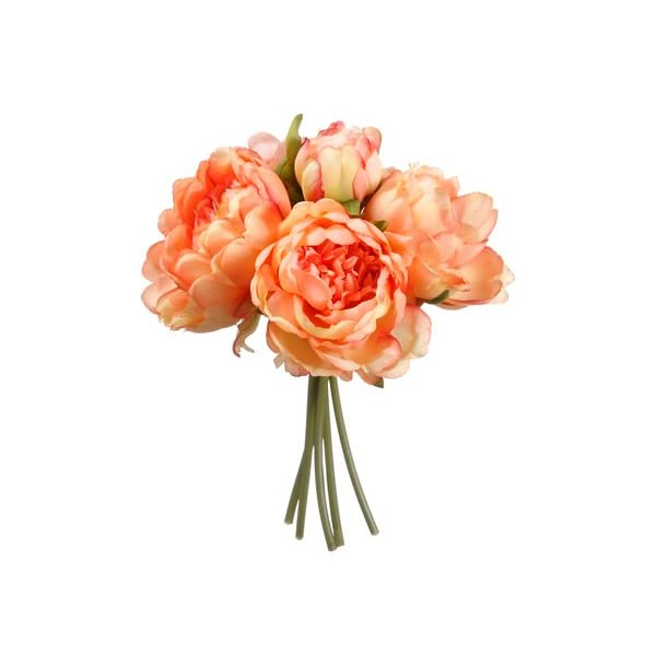9.5″ Peony Bouquet x5 Coral (Pack of 12)