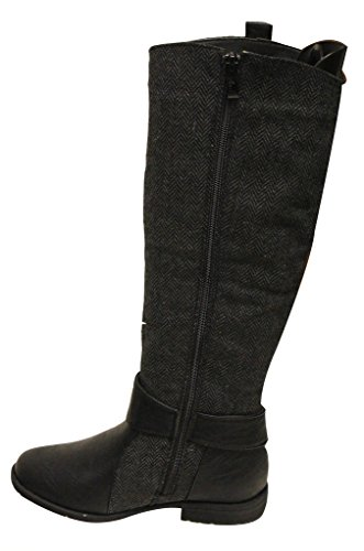 ANNA NB200-49 Womens 2 tone buckled ankle strap side zip knee high Boots Black 5.5 QMSJLTF