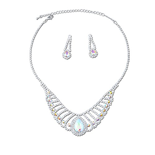 Topwholesalejewel Silver Aurora Borealis Rhinestone Necklace Drop Earrings Jewelry Set