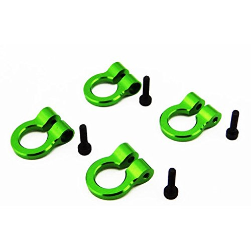 (Hot Racing ACC80805 1/10 Scale Aluminum Green Tow Shackle D-Rings (4) )