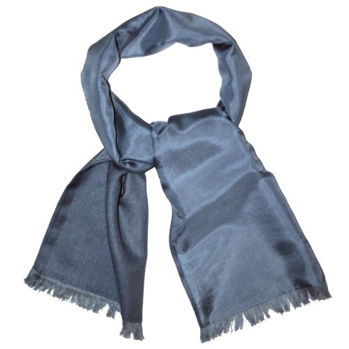 Silk Lined Cashmere Neck Scarf - Royal Silk - Grey
