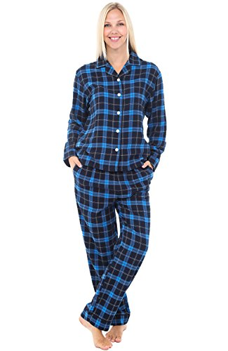 - Alexander Del Rossa Womens Flannel Pajamas, Long Cotton Pj Set, Small Blue Tartan Plaid (A0509Q46SM)