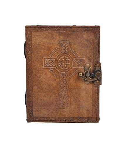 Leather Journal Handmade Celtic Cross Embossed Vintage Charcoal Color Daily Notepad for Men & Women Unlined Paper 7 x 5 Inches, Best Gift for Art Sketchbook, Travel Diary & Writing Notebook