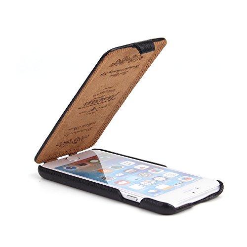 iPhone 6s / 6 Hülle - ECHT LEDER - HANDGEFERTIGT - RUNDUMSCHUTZ Zubehör Case Etui IPhone Flip Case Schutzhülle von TWOWAYS - Farbe Schwarz