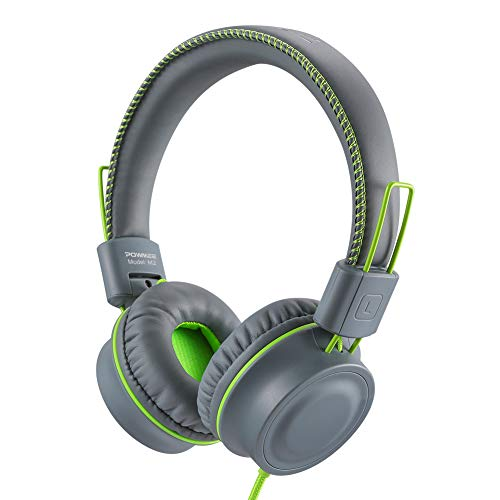 POWMEE M2 Kids Headphones Wired Headphone for Kids,Foldable Adjustable Stereo Tangle-Free,3.5MM Jack Wire Cord On-Ear Headphone for Children/Teens/Girls/School/Kindle/Airplane/Plane/ (Grey)