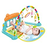 Loeiwg Baby Gym Kick and Play Piano,Large Baby Game Pad Music Pedal Piano Music Fitness Rack Crawling Mat Fitness Rack Crawling Mat Toy Intelligence (Sky Blue, 74x58x42cm/29.1x22.8x16.5in)