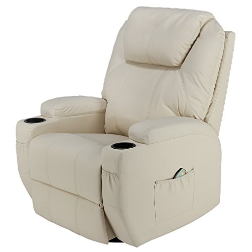 (Homegear Recliner Chair with 8 Point Electric Massage and Heat (Cream))