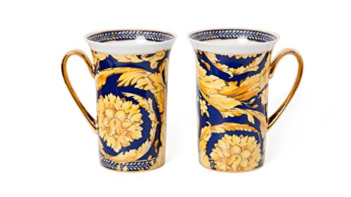 Royalty Porcelain Luxury Tea Cup/Mug, Floral Design, 24K Gold (12 Oz, -