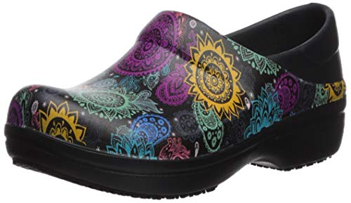 Crocs Women's Neria Pro II Clog| Slip-Resistant Work and Nursing Shoe, Black/Multi Floral, 7 M US