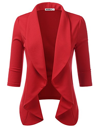 - CLOVERY Women's 3/4 Sleeve Lightweight Open Front Draped Tuxedo Blazer Rose M Plus Size
