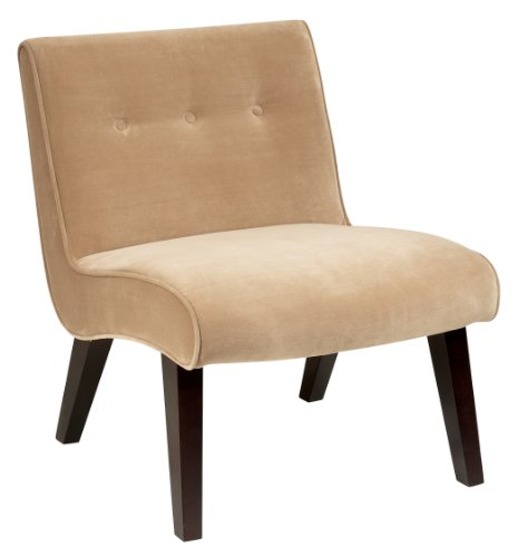 AVE SIX Curves Valencia Accent Chair with Solid Wood Legs, Coffee Velvet