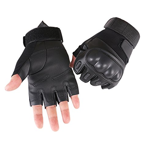 Campstoor Army Military Tactical Gloves Rubber Hard Knuckle Outdoor Gloves for Fit for Cycling Motorcycle Hunting Hiking Camping Powersports Airsoft Paintball (Large, Black Fingerless) Fits Hard Rubber