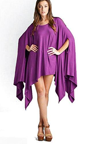 Vivicastle Womens Loose Bat Wing Dolman Poncho Tunic Dress Top