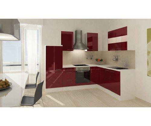 respekta Küchenleerblock Premium L-Küche 260 x 200 cm Korpus Weiß Fronten Bordeaux Hochglanz