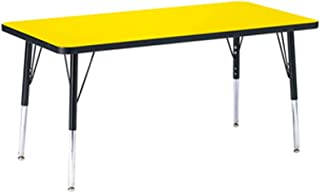 """product image for Berries Rectangle Activity Table - 24"""" X 48"""", Standard Leg Elementary 15""""- 24"""", Tabletop Yellow with TRUedge and Leg Black"""