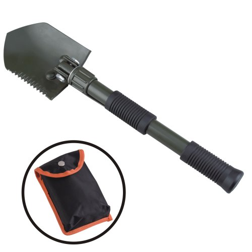 AceCamp Aluminum Collapsible Utility Shovel, Pick Axe and Saw, Lightweight Portable Folding Shovel for Outdoor Camping in Winter and Snow with Carrying Case – 16 In