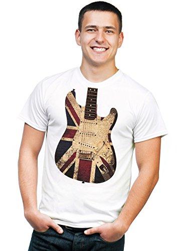 Retreez Vintage Union Jack UK British Flag Guitar Graphic Printed Unisex Men / Boys / Women T-shirt Tee - White - X-Large (Union Printed)