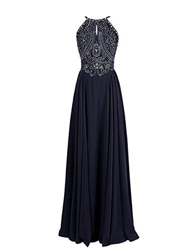 CoutureBridal® Blau Kleider formale Funkelnde Marine Abendkleider Straps Prom Friesen Backless q8Uv87nxrw