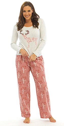 Ladies Christmas Reindeer Cotton Rich pajama Set