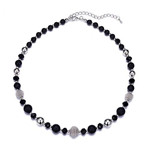Bulinlin Beaded Strand Pearl Choker Necklace - Fashion Jewelry Birthday Gifts for Women Girls (42-Black)