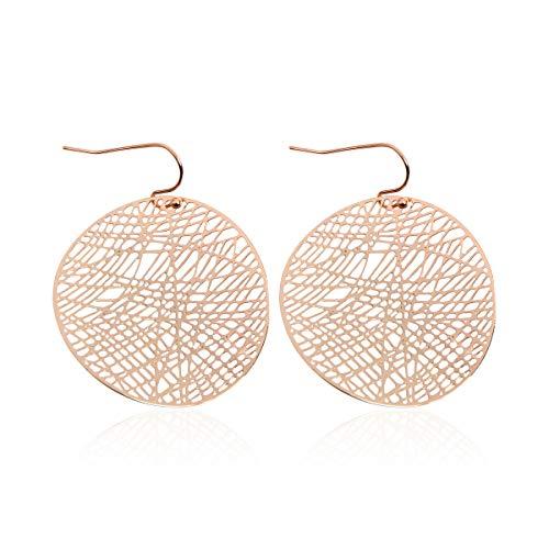 RIAH FASHION Moroccan Filigree Geometric Drop Earrings - Bohemian Metallic Cutout Hook Lightweight Dangles Flower Petal Leaf/Teardrop/Scallop/Circle/Quatrefoil (Curved Disc - Gold)