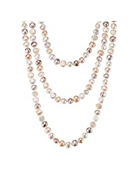 64 inch multi colour freshwater cultured pearl necklace