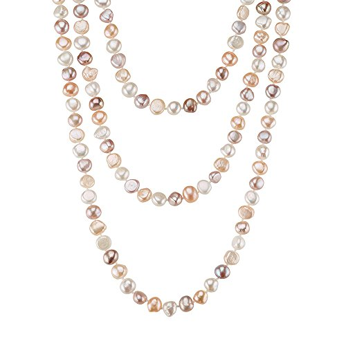 - Sugoi Pearls 64 Inch Multi Colour Freshwater Cultured Pearl Necklace