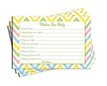 baby shower chevron wishes for baby cards neutral girl boy games 50 cards - Baby Shower Cards