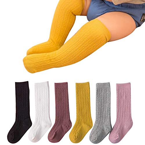 Lanzom Warm Unisex Newborn Baby Girl Boy Cable Knit Stocking Knit Knee High Cotton Socks (Mixed Color-6 Pairs, 1-3 ()
