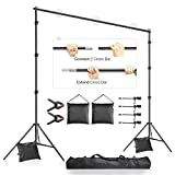 LimoStudio 10 x 9.4 feet Frame Length Adjustable Photo Video Backdrop Muslin Stands, Background Support System Kit With Accessories, Spring Clamp, Sand Bag, Carry Bag, AGG2612