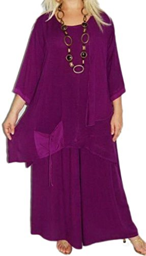 Lotustraders Blouse Gaucho Palazzo Pant Set Lagenlook Asym Violet Medium G102 by LOTUSTRADERS
