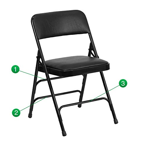 Flash Furniture HERCULES Series Curved Triple Braced & Double Hinged Black Vinyl Fabric Metal Folding ()