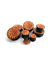"Pair of 9/16"" Gauge (14mm) Pepperoni Pizza Plugs"