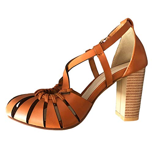 Orfilaly Womens Ladies mid Heel Work Casual Summer Ankle Strap Comfort Beach Rome Sands Evening Prom High Heel Size 5-9 ()