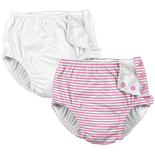 i play 2 Pack Girls Reusable Baby Swim Diapers Pink Pinstripe and White 3T