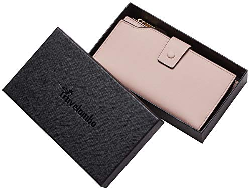 Travelambo Womens RFID Blocking Large Capacity Luxury Waxed Genuine Leather Clutch Wallet Multi Card Organizer 7