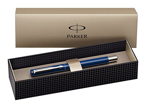 Parker Vector Stainless Steel Trim Fountain Pen with Medium Nib, Gift Box - Blue