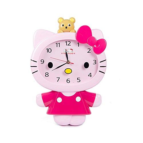 (YOURNELO Lovely Cartoon Hello Kitty Boy's Girl's Wall Clock (Rose))