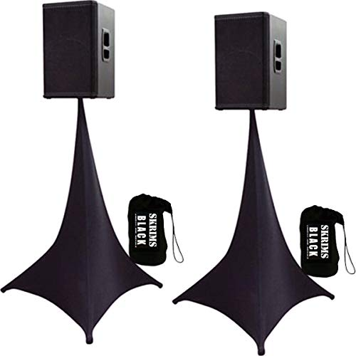2-Pack Amazin Gear SKRIMS Tripod Speaker Stand Stretch Covers - Triple Sided DJ Scrims - Spandex DJ Skirts 3-Sides - Scrims 360 +2 FREE Travel Bags - BLACK PAIR (SKRIMS-3B-2)