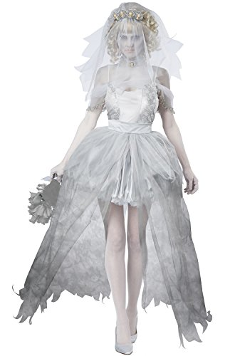 California Costumes Women's Ghostly Bride Adult, Grey,