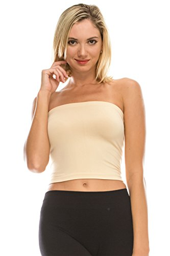 Support Bandeau - Kurve Medium Length Bandeau Bra Top - UV Protective Fabric UPF 50+ (Made with Love in The USA) Nude