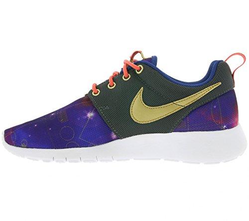 Nike Roshe One Print (GS) Zapatillas de running, Niños Morado / Verde / Amarillo (Mtlc Hmtt / Mtllc Gld-Lt Pht Bl)