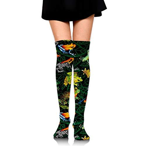 MFMAKER Womens Classic Warmer Tube Leg Stockings Frogs On Leaves Green Casual Socks Over The Knee High Socks